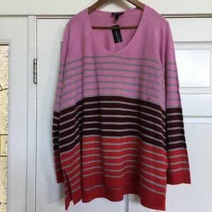 Lane Bryant striped sweater pink purple 22/24